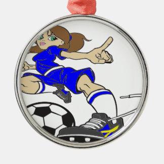 サッカーの女の子TEX メタルオーナメント