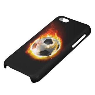 サッカーの火の玉の光沢のあるiPhone 5cケース iPhone5Cカバー