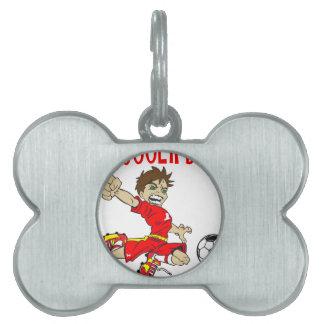 サッカーの男の子の赤の文字 ペットネームタグ