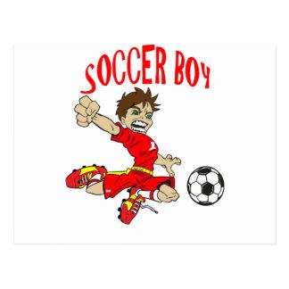 サッカーの男の子の赤の文字 ポストカード