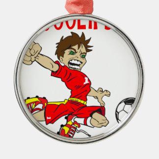 サッカーの男の子の赤の文字 メタルオーナメント