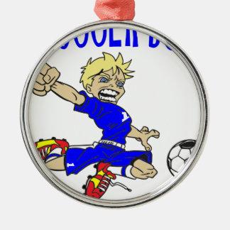 サッカーの男の子の青の文字 メタルオーナメント