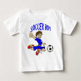 サッカーの男の子 ベビーTシャツ
