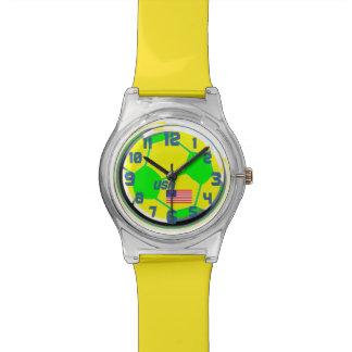 サッカーの米国旗およびカスタマイズ可能な名前米国 腕時計