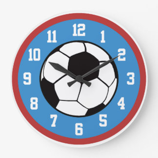 サッカーの赤および青 ラージ壁時計