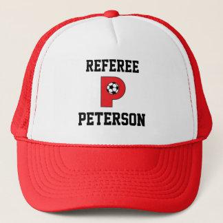 サッカーの赤の手紙Pのモノグラム キャップ