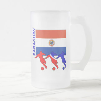 サッカーの選手-パラグアイ フロストグラスビールジョッキ
