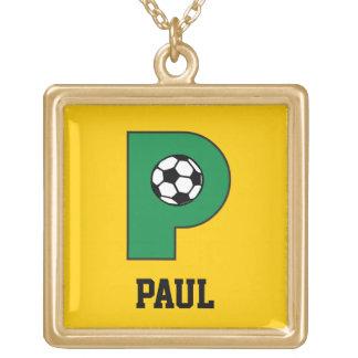 サッカーの金ゴールドのモノグラムの手紙P ゴールドプレートネックレス