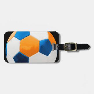 サッカーの青およびオレンジ ラゲッジタグ