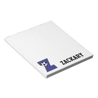 サッカーの青のモノグラムの手紙Z ノートパッド