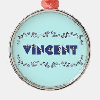 サッカーの青のヴィンチェンツォ メタルオーナメント