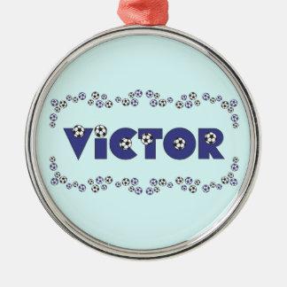 サッカーの青の勝利者 メタルオーナメント