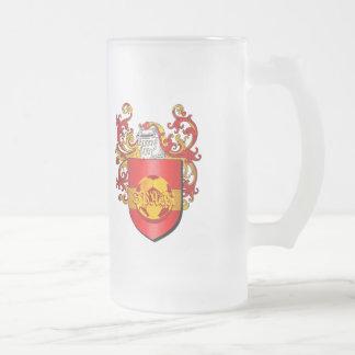 サッカーのFutbolのクラシックでスペインのな紋章付き外衣 フロストグラスビールジョッキ