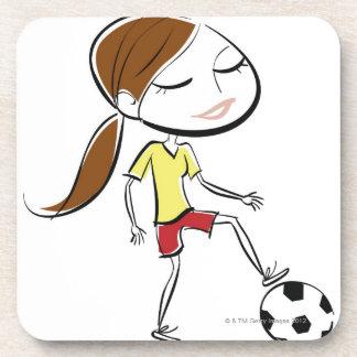 サッカーを遊んでいる女性 コースター