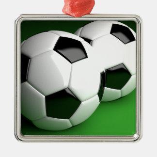 サッカーファン3D シルバーカラー正方形オーナメント