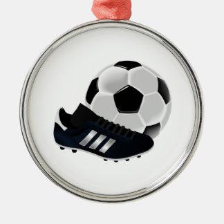 サッカーボールおよびクリート メタルオーナメント