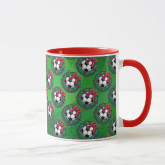 サッカーボールのクリスマス マグカップ