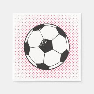 サッカーボールのパーティーのナプキン-ピンク スタンダードカクテルナプキン