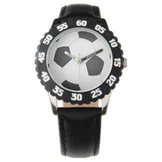 サッカーボールのフットボールのイラストレーションの腕時計 腕時計