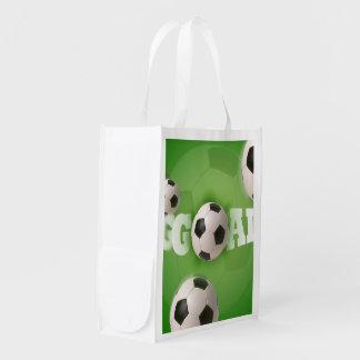 サッカーボールのフットボールのゴール-買い物袋 エコバッグ