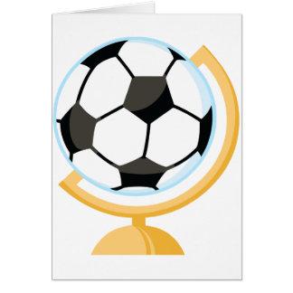 サッカーボールの地球の挨拶状 グリーティングカード