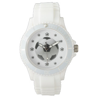 サッカーボールの白くスポーティな腕時計 腕時計