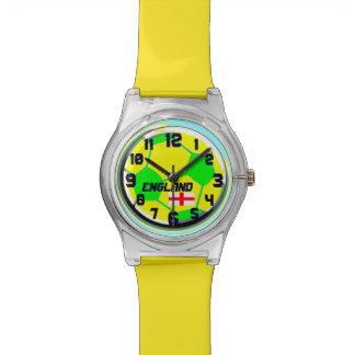 サッカーボールの英国の旗カスタマイズ可能な一流のイギリス 腕時計