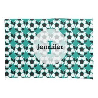 サッカーボールパターン名前入りでユニークな緑の子供 枕カバー