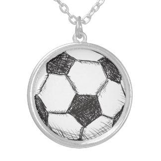 サッカーボール、フットボール、Fussballのチーム・スポーツ シルバープレートネックレス