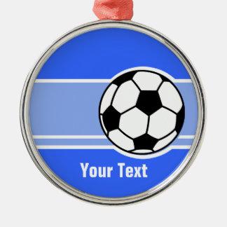 サッカーボール; 青い メタルオーナメント