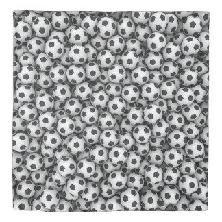 サッカーボール(2つの側面)の女王の羽毛布団カバー 掛け布団カバー