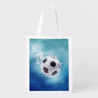 サッカー水しぶきの再使用可能な買い物袋 エコバッグ
