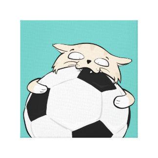 サッカー猫、30.48cm x 30.48cm、独身のな3.81cm キャンバスプリント
