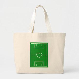 サッカー、ハートPitch.l愛サッカー ラージトートバッグ