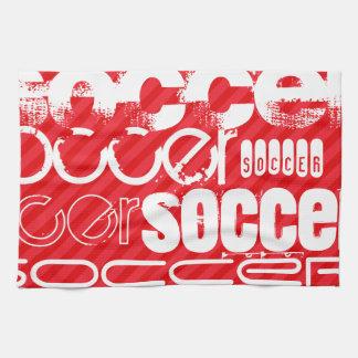 サッカー; 深紅の赤のストライプ キッチンタオル