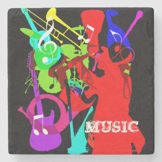 サックス演奏者の楽器のメドレー音楽グラフィック ストーンコースター