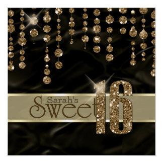 サテンの宝石のSweet sixteenの黒の金ゴールドID260 ポスター