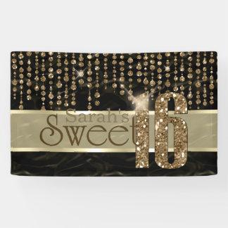 サテンの宝石のSweet sixteenの黒の金ゴールドID260 横断幕