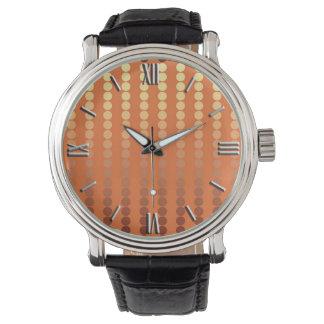 サテンの点-錆および金ゴールド 腕時計