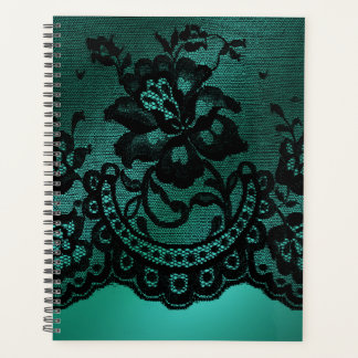サテン及びレースのヴィンテージの緑の黒のプランナー プランナー手帳