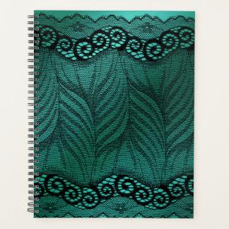 サテン及びレースの緑の孔雀の羽のプランナー プランナー手帳