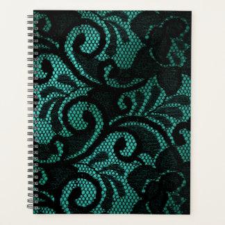 サテン及びレースの緑の黒いプランナー プランナー手帳