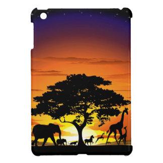 サバンナの日没のiPad Miniケースの野生動物 iPad Mini カバー