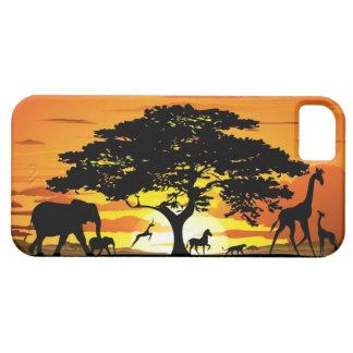 サバンナの日没のiPhoneの野生動物5つのケース iPhone SE/5/5s ケース