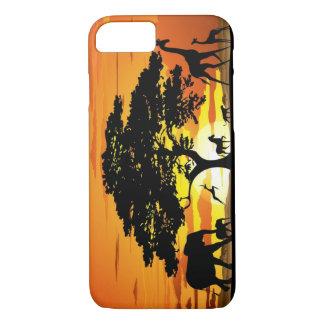 サバンナの日没のiPhone 7の場合の野生動物 iPhone 8/7ケース