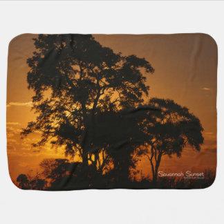 サバンナの日没 ベビー ブランケット