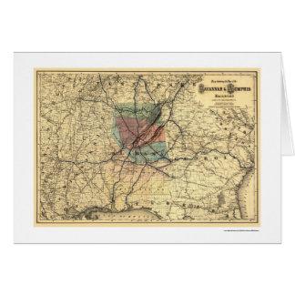 サバンナ及びメンフィスの鉄道地図1872年 カード
