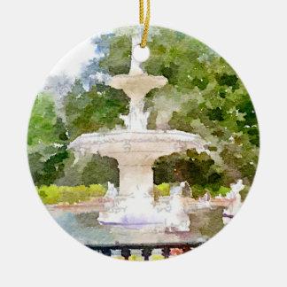 サバンナGAの水彩画のプリントのForsythの噴水 セラミックオーナメント