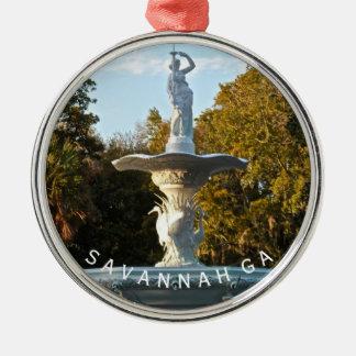 サバンナGAの記念品| Forsyth公園の噴水の写真 メタルオーナメント