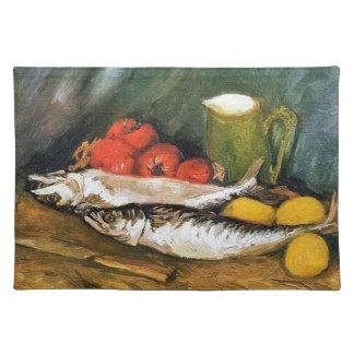 サバ、レモンおよびトマトが付いている静物画 ランチョンマット